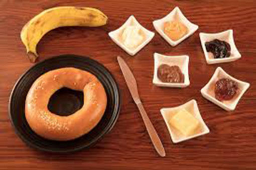Bagel with a choice of spreads butter, peanut butter, Nutella, peanut butter jam, cream cheese at Cat Cafe Studio - TripAdvisor